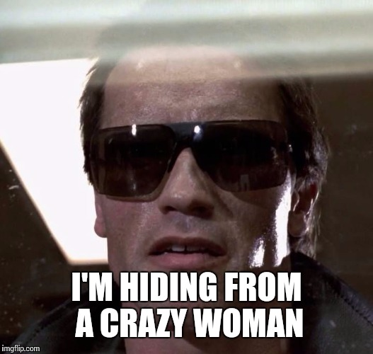 I'M HIDING FROM A CRAZY WOMAN | made w/ Imgflip meme maker