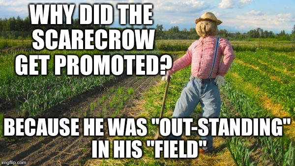 "Scarecrow | WHY DID THE SCARECROW GET PROMOTED? BECAUSE HE WAS ""OUT-STANDING"" IN HIS ""FIELD"" 