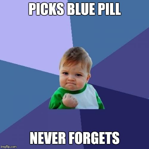 Success Kid Meme | PICKS BLUE PILL NEVER FORGETS | image tagged in memes,success kid | made w/ Imgflip meme maker