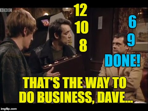 12 6 10 9 8 DONE! THAT'S THE WAY TO DO BUSINESS, DAVE... | made w/ Imgflip meme maker