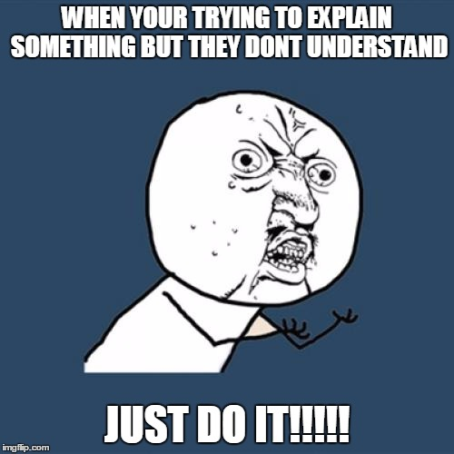 Y U No Meme | WHEN YOUR TRYING TO EXPLAIN SOMETHING BUT THEY DONT UNDERSTAND JUST DO IT!!!!! | image tagged in memes,y u no | made w/ Imgflip meme maker