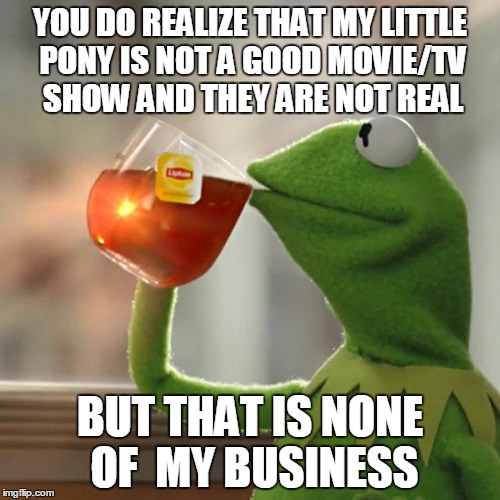 that is not MY business | YOU DO REALIZE THAT MY LITTLE PONY IS NOT A GOOD MOVIE/TV SHOW AND THEY ARE NOT REAL BUT THAT IS NONE OF  MY BUSINESS | image tagged in memes,the worst show/movie in the world | made w/ Imgflip meme maker