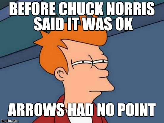 Futurama Fry Meme | BEFORE CHUCK NORRIS SAID IT WAS OK ARROWS HAD NO POINT | image tagged in memes,futurama fry | made w/ Imgflip meme maker