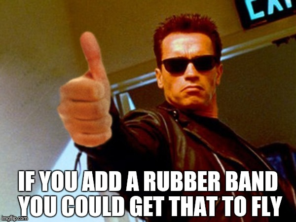 Arnold likes it | IF YOU ADD A RUBBER BAND YOU COULD GET THAT TO FLY | image tagged in arnold likes it | made w/ Imgflip meme maker