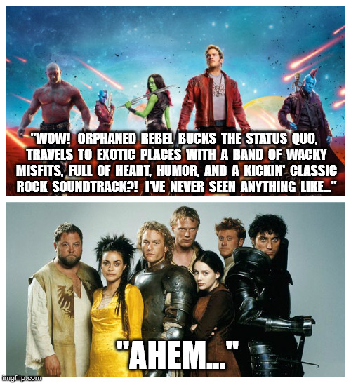 "I can't believe it took me this long to make the comparison. | ""WOW!   ORPHANED  REBEL  BUCKS  THE  STATUS  QUO,  TRAVELS  TO  EXOTIC  PLACES  WITH  A  BAND  OF  WACKY  MISFITS,  FULL  OF  HEART,  HUMOR, 