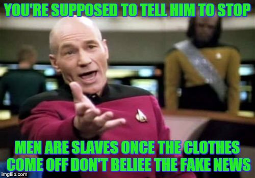 Picard Wtf Meme | YOU'RE SUPPOSED TO TELL HIM TO STOP MEN ARE SLAVES ONCE THE CLOTHES COME OFF DON'T BELIEE THE FAKE NEWS | image tagged in memes,picard wtf | made w/ Imgflip meme maker