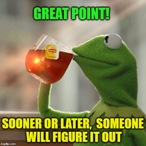 But Thats None Of My Business Meme | GREAT POINT! SOONER OR LATER,  SOMEONE WILL FIGURE IT OUT | image tagged in memes,but thats none of my business,kermit the frog | made w/ Imgflip meme maker