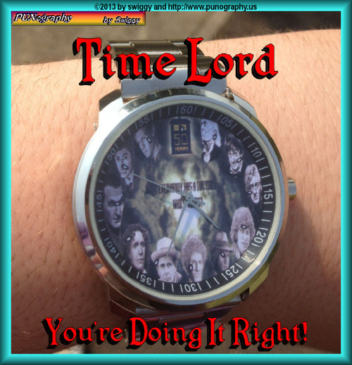 Who did you say? | TIME LORD YOU'RE DOING IT RIGHT | image tagged in doctor who,watch,time lord,memes,punography | made w/ Imgflip meme maker