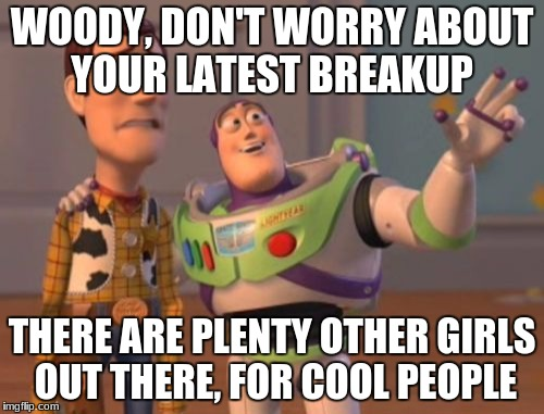 X, X Everywhere | WOODY, DON'T WORRY ABOUT YOUR LATEST BREAKUP THERE ARE PLENTY OTHER GIRLS OUT THERE, FOR COOL PEOPLE | image tagged in memes,x,x everywhere,x x everywhere | made w/ Imgflip meme maker
