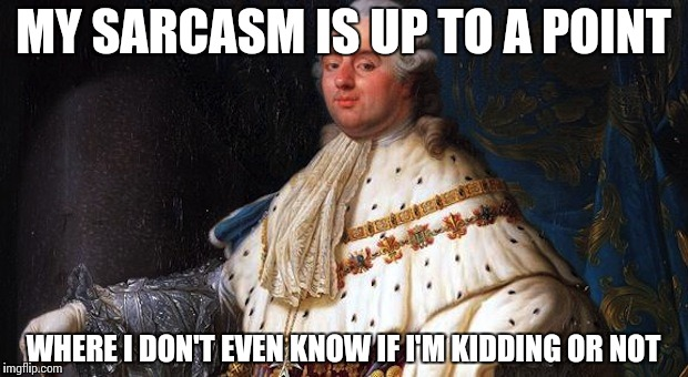 France is great! | MY SARCASM IS UP TO A POINT WHERE I DON'T EVEN KNOW IF I'M KIDDING OR NOT | image tagged in louis xvi,memes,funny,france,sarcasm | made w/ Imgflip meme maker