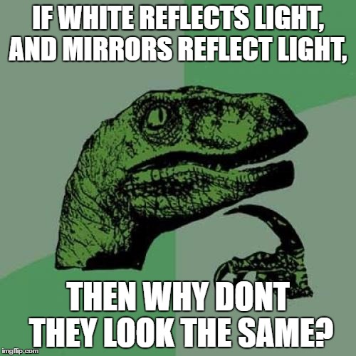 Philosoraptor Meme | IF WHITE REFLECTS LIGHT, AND MIRRORS REFLECT LIGHT, THEN WHY DONT THEY LOOK THE SAME? | image tagged in memes,philosoraptor | made w/ Imgflip meme maker