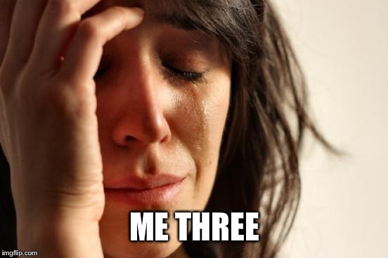 First World Problems Meme | ME THREE | image tagged in memes,first world problems | made w/ Imgflip meme maker