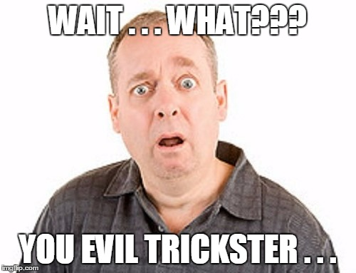 WAIT . . . WHAT??? YOU EVIL TRICKSTER . . . | made w/ Imgflip meme maker