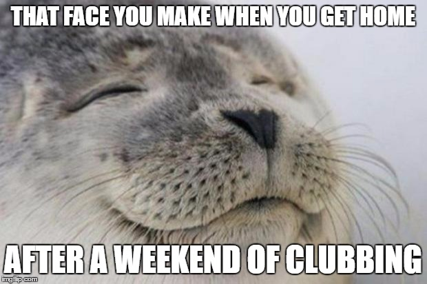 Not everyone enjoys that sort of thing. | THAT FACE YOU MAKE WHEN YOU GET HOME AFTER A WEEKEND OF CLUBBING | image tagged in happy seal,clubbing,night club,clubs,seals,funny meme | made w/ Imgflip meme maker