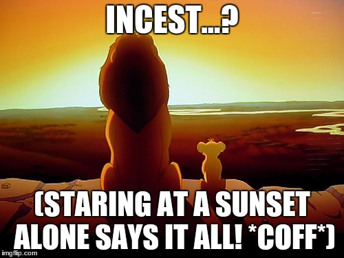 Lion King Meme | INCEST...? (STARING AT A SUNSET ALONE SAYS IT ALL! *COFF*) | image tagged in memes,lion king | made w/ Imgflip meme maker