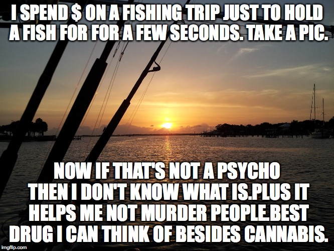 I SPEND $ ON A FISHING TRIP JUST TO HOLD A FISH FOR FOR A FEW SECONDS. TAKE A PIC. NOW IF THAT'S NOT A PSYCHO THEN I DON'T KNOW WHAT IS.PLUS | image tagged in fishing | made w/ Imgflip meme maker