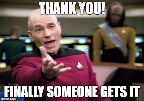 THANK YOU! FINALLY SOMEONE GETS IT | image tagged in memes,picard wtf | made w/ Imgflip meme maker