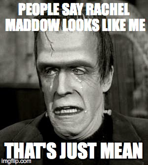 That's just mean | PEOPLE SAY RACHEL MADDOW LOOKS LIKE ME THAT'S JUST MEAN | image tagged in herman munster | made w/ Imgflip meme maker