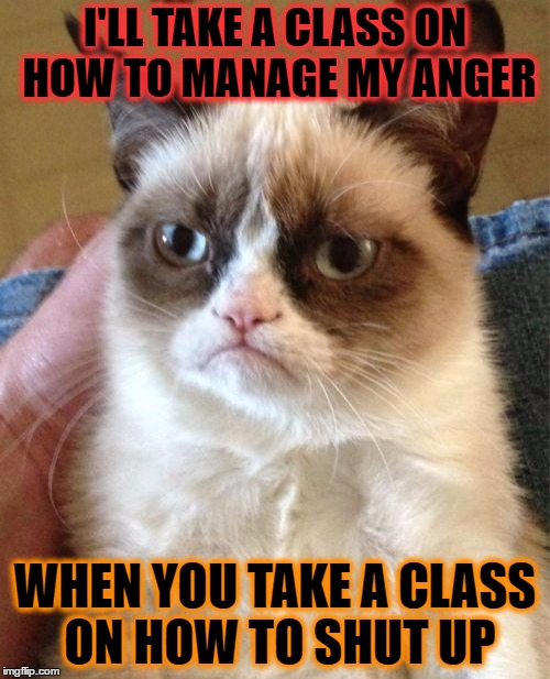 Grumpy Cat Meme | I'LL TAKE A CLASS ON HOW TO MANAGE MY ANGER WHEN YOU TAKE A CLASS ON HOW TO SHUT UP | image tagged in memes,grumpy cat | made w/ Imgflip meme maker