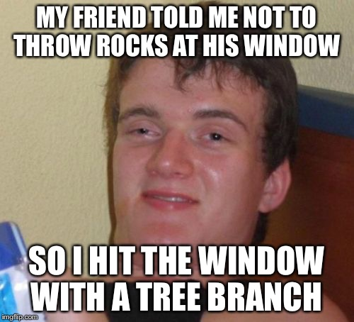 Tree Branch vs. Window  | MY FRIEND TOLD ME NOT TO THROW ROCKS AT HIS WINDOW SO I HIT THE WINDOW WITH A TREE BRANCH | image tagged in memes,10 guy,windows,rocks,tree | made w/ Imgflip meme maker