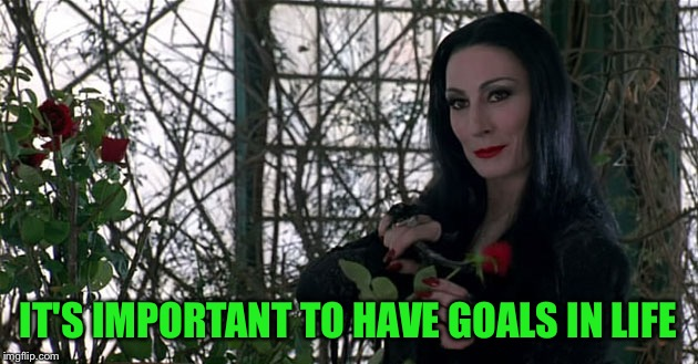 Addams Family | IT'S IMPORTANT TO HAVE GOALS IN LIFE | image tagged in addams family | made w/ Imgflip meme maker
