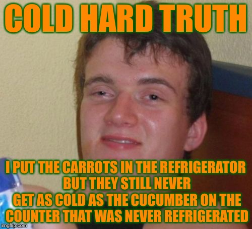 10 Guy Meme | COLD HARD TRUTH I PUT THE CARROTS IN THE REFRIGERATOR BUT THEY STILL NEVER GET AS COLD AS THE CUCUMBER ON THE COUNTER THAT WAS NEVER REFRIGE | image tagged in memes,10 guy,the truth | made w/ Imgflip meme maker