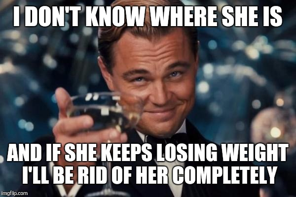Leonardo Dicaprio Cheers Meme | I DON'T KNOW WHERE SHE IS AND IF SHE KEEPS LOSING WEIGHT I'LL BE RID OF HER COMPLETELY | image tagged in memes,leonardo dicaprio cheers | made w/ Imgflip meme maker