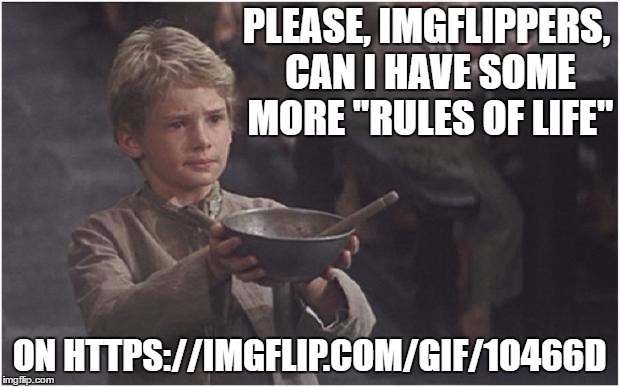 "I was hoping for at least 10, preferably 20 or more. Linked in the comments. | PLEASE, IMGFLIPPERS, CAN I HAVE SOME MORE ""RULES OF LIFE"" ON HTTPS://IMGFLIP.COM/GIF/1O466D 