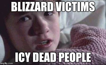 Icy What You Did There ;) | BLIZZARD VICTIMS ICY DEAD PEOPLE | image tagged in memes,i see dead people,bad pun | made w/ Imgflip meme maker