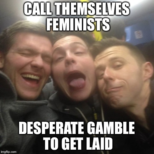 CALL THEMSELVES FEMINISTS DESPERATE GAMBLE TO GET LAID | image tagged in trojan feminist | made w/ Imgflip meme maker