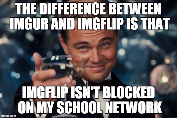 Leonardo Dicaprio Cheers | THE DIFFERENCE BETWEEN IMGUR AND IMGFLIP IS THAT IMGFLIP ISN'T BLOCKED ON MY SCHOOL NETWORK | image tagged in memes,leonardo dicaprio cheers | made w/ Imgflip meme maker