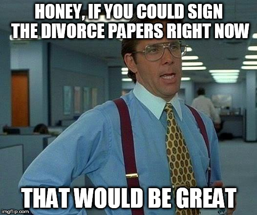 That Would Be Great Meme | HONEY, IF YOU COULD SIGN THE DIVORCE PAPERS RIGHT NOW THAT WOULD BE GREAT | image tagged in memes,that would be great | made w/ Imgflip meme maker