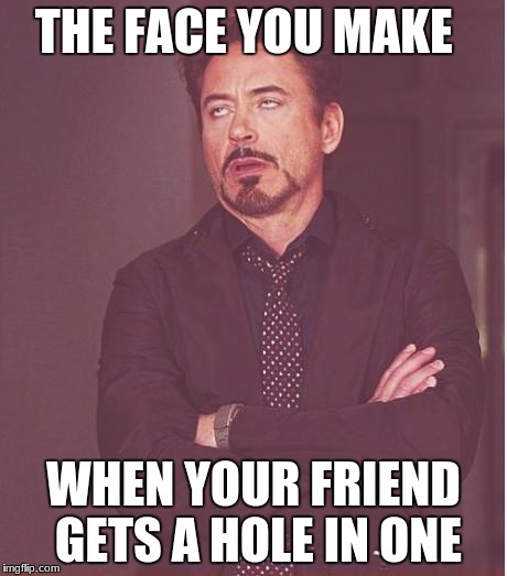 Face You Make Robert Downey Jr Meme | THE FACE YOU MAKE WHEN YOUR FRIEND GETS A HOLE IN ONE | image tagged in memes,face you make robert downey jr | made w/ Imgflip meme maker