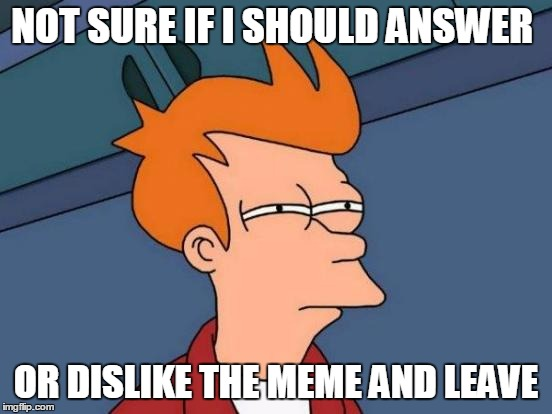 Futurama Fry Meme | NOT SURE IF I SHOULD ANSWER OR DISLIKE THE MEME AND LEAVE | image tagged in memes,futurama fry | made w/ Imgflip meme maker