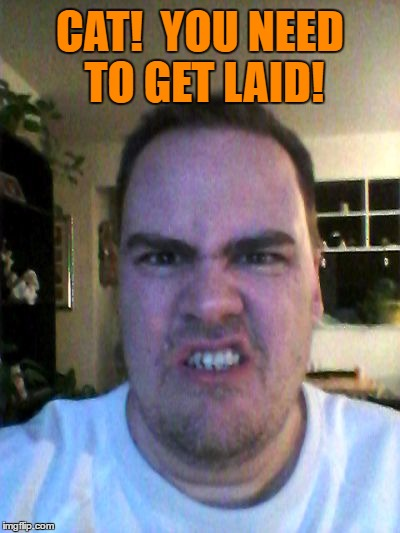Grrr | CAT!  YOU NEED TO GET LAID! | image tagged in grrr | made w/ Imgflip meme maker