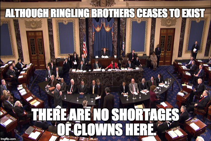 Senate floor | ALTHOUGH RINGLING BROTHERS CEASES TO EXIST THERE ARE NO SHORTAGES OF CLOWNS HERE. | image tagged in senate floor | made w/ Imgflip meme maker