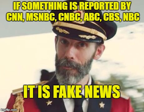 People actually still believe these networks are not bias | IF SOMETHING IS REPORTED BY CNN, MSNBC, CNBC, ABC, CBS, NBC IT IS FAKE NEWS | image tagged in captain obvious,fake news | made w/ Imgflip meme maker