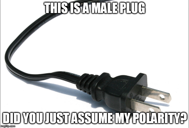 Gender Electronics | THIS IS A MALE PLUG DID YOU JUST ASSUME MY POLARITY? | image tagged in memes,did you just assume my gender,electric | made w/ Imgflip meme maker