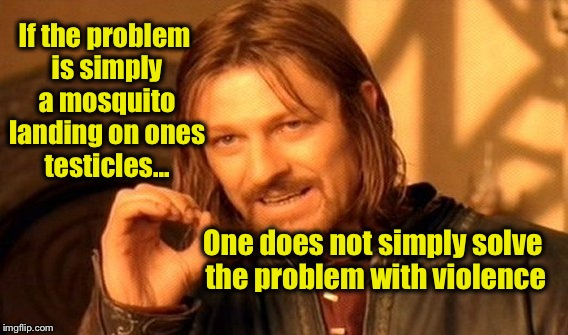 If there's a skeeter on your peter whack it off! | If the problem is simply a mosquito landing on ones testicles... One does not simply solve the problem with violence | image tagged in memes,one does not simply | made w/ Imgflip meme maker