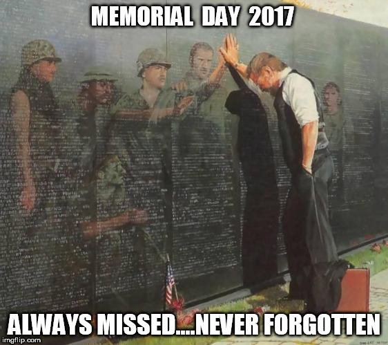 MEMORIAL  DAY  2017 ALWAYS MISSED....NEVER FORGOTTEN | image tagged in always remembered | made w/ Imgflip meme maker
