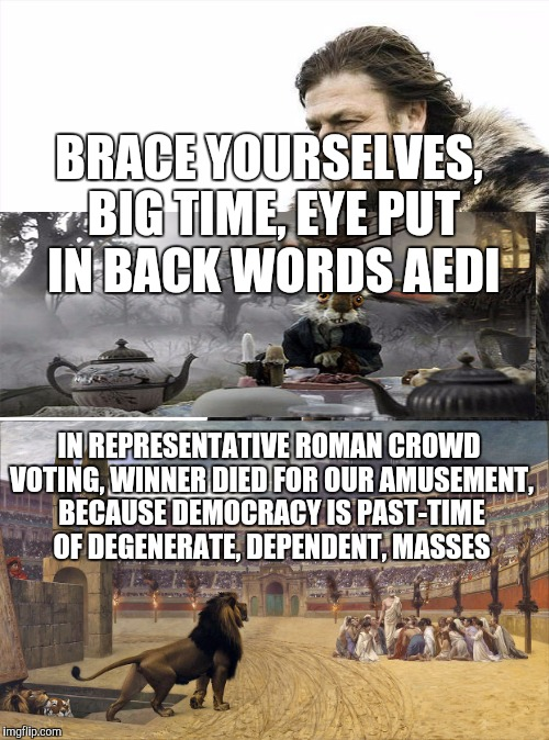 BRACE YOURSELVES, BIG TIME, EYE PUT IN BACK WORDS AEDI IN REPRESENTATIVE ROMAN CROWD VOTING, WINNER DIED FOR OUR AMUSEMENT, BECAUSE DEMOCRAC | made w/ Imgflip meme maker