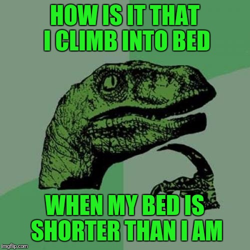 I just asked myself this question as I climbed into bed last night.  LOL |  HOW IS IT THAT I CLIMB INTO BED; WHEN MY BED IS SHORTER THAN I AM | image tagged in memes,philosoraptor | made w/ Imgflip meme maker