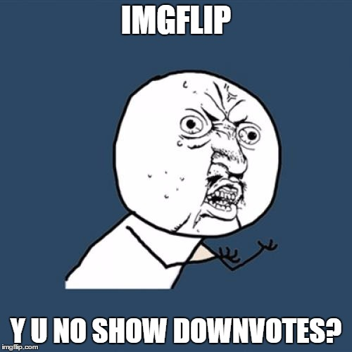 Imgflip should count downvotes as well as upvotes | IMGFLIP Y U NO SHOW DOWNVOTES? | image tagged in memes,y u no,downvotes | made w/ Imgflip meme maker