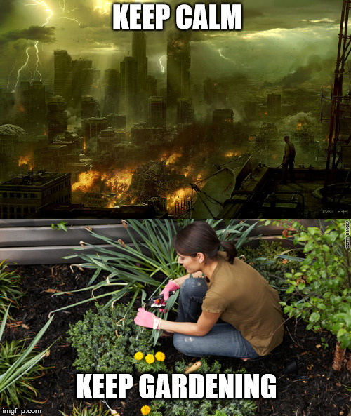 Keep Calm and Keep Gardening | KEEP CALM KEEP GARDENING | image tagged in world destruction,wholesome,gardener,farming,apocalypse,environmental | made w/ Imgflip meme maker