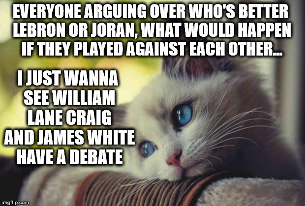 Sad Kitten | EVERYONE ARGUING OVER WHO'S BETTER LEBRON OR JORAN, WHAT WOULD HAPPEN IF THEY PLAYED AGAINST EACH OTHER... I JUST WANNA SEE WILLIAM LANE CRA | image tagged in sad kitten,james white,william lane craig,calvinism,philosophy,theology | made w/ Imgflip meme maker