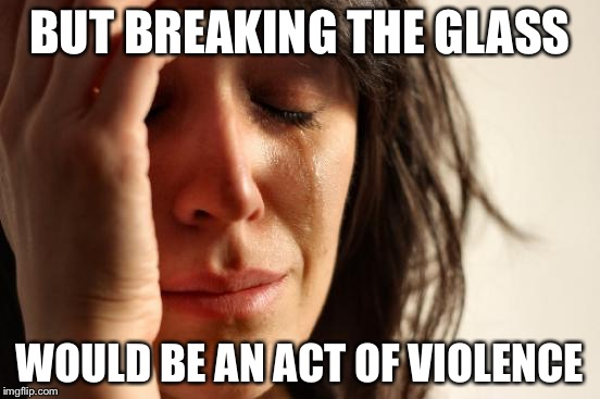 First World Problems Meme | BUT BREAKING THE GLASS WOULD BE AN ACT OF VIOLENCE | image tagged in memes,first world problems | made w/ Imgflip meme maker