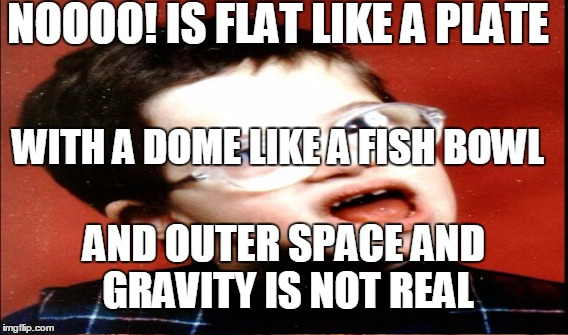 NOOOO! IS FLAT LIKE A PLATE WITH A DOME LIKE A FISH BOWL AND OUTER SPACE AND GRAVITY IS NOT REAL | made w/ Imgflip meme maker