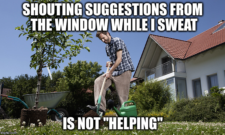 "SHOUTING SUGGESTIONS FROM THE WINDOW WHILE I SWEAT IS NOT ""HELPING"" 