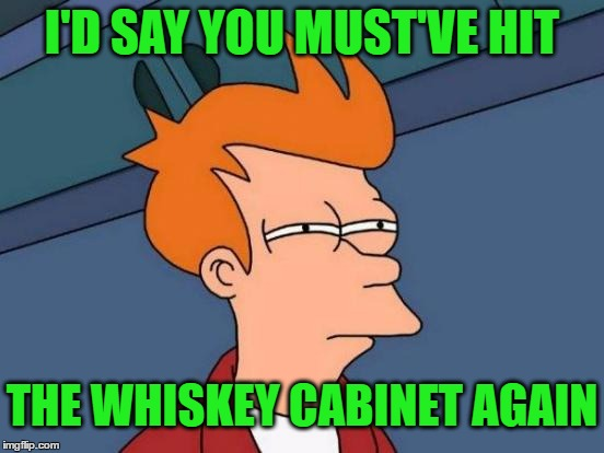 Futurama Fry Meme | I'D SAY YOU MUST'VE HIT THE WHISKEY CABINET AGAIN | image tagged in memes,futurama fry | made w/ Imgflip meme maker
