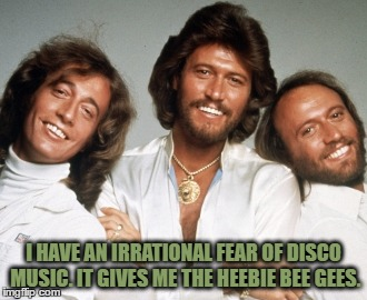 I HAVE AN IRRATIONAL FEAR OF DISCO MUSIC. IT GIVES ME THE HEEBIE BEE GEES. | image tagged in beegees,disco,fear,funny,funny memes,music | made w/ Imgflip meme maker